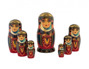 Babushka traditional Russian dolls on white