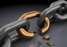 3d illustration of broken chain, over black background